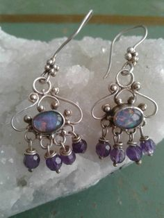 Excited to share the latest addition to my #etsy shop Dor2vintage: Vintage Boho Opal Sterling Silver Filigree Purple Crystal Dangle Drop Pierced Earrings https://etsy.me/2tNxOWO #jewelry #earrings #purple #silver #opal #earwire #boho #bohoearrings #sterlingsilver