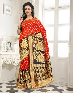 Buy Red Banarasi Silk Saree With Blouse 64063 with blouse online at lowest price from vast collection of sarees at Indianclothstore.com.