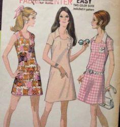 1970s Mod U Neck Dress Mini or Regular Length Collar by kinseysue