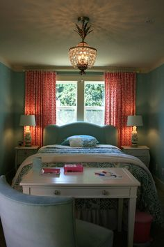 Stunning Bedroom Ideas Fow A Wonderful Life: Simple Small Interior Bedroom With Classic Lamp Pink Curtain Blue Bed Blue Quilt And Blue Wall For The Girls Cool Chandelier ~ HKSTANDARD Bedroom Designs Inspiration