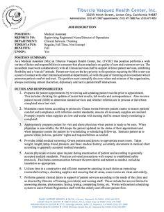 Medical Assistant Job Description Resume   Http://resumesdesign.com/medical