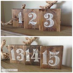 Mesa de madera rústica números números de mesa mesa números