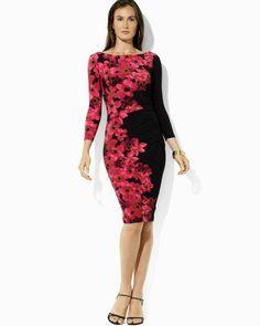 Lauren by Ralph Lauren Purple Threequarter Sleeve Floral Printed Dress