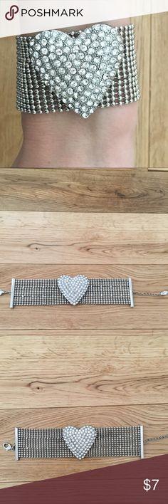 Oversized heart bracelet by GUESS GUESS Oversized mesh metal statement bracelet with rhinestone heart Guess Jewelry Bracelets