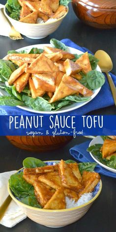 Peanut Sauce Tofu is delicious and quick to make. It's vegan and gluten-free, and is made with simple ingredients. Brown your tofu, add the sauce, and you'll have dinner ready in under 30 minutes! #tofu #peanutsauce #vegan #glutenfree via @VeggiesSave