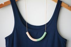 Two-Toned Polymer Clay Tube Necklace