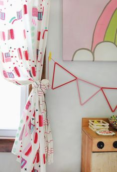 Abstract Painted Curtain DIY