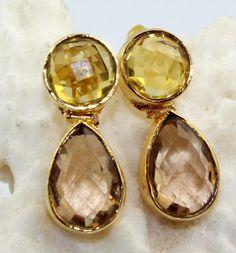 H3031 Halloween Sale ! Peach & Lemon Quartz 24k Gold Plated Stud Earring Jewelry #Handmade #Stud #CasualParty