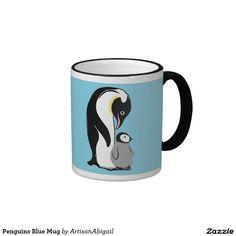 Penguins Blue Mug; Abigail Davidson Art; ArtisanAbigail at Zazzle