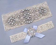 Something Blue Wedding Garters, Ivory / White Lace Keepsake / Toss Bridal Garter…