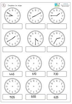 Comparto un par de fichas para reforzar . First Grade Math Worksheets, 1st Grade Math, Kindergarten Worksheets, Homeschool Math, Math For Kids, Teaching Math, Teaching Time, Math Lessons, Digital Form