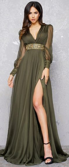 NEW! Elegant Silk-like Chiffon V-neck Neckline Long Sleeves A-line Evening Dress With Beadings & Slit
