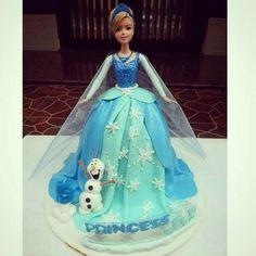 Frozen barbie cake