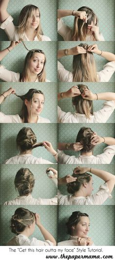 1. First french braid bangs  2. Pull back a small section of hair on the top of your head... pin it.  3. Pull back another small section of hair from the sides of your head and pin it below the first pin.  4. Take the remaining hair and pin it up as a messy bun. Also pin back bangs.  5. Use hair spray... if needed