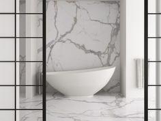 Revestimento de pisos/paredes ultra-fino de grés porcelânico com efeito pedra KALOS BIANCO Coleção Stone by Techlam By Levantina