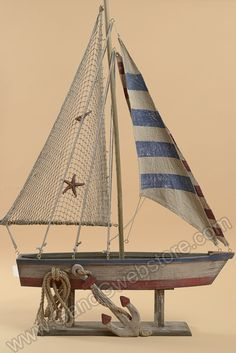 "29"" X 42"" WOODEN ROPE SAILING BOAT NATURAL, GandGwebStore.com has a wide…"