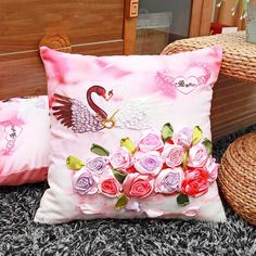 Swan Rose Flower Ribbon embroidery kit Toolkit cushion covers pillow cover fashion Home Unfinished Handmade DIY Crafts gift