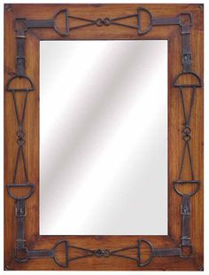 Country Western Buckle Designed Frame Fir Wood Mirror Crestview Collection   Natural Wooden Framed Large Wall Mirror Crestview Collection