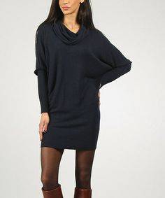 Take a look at this Navy Gina Sweater Dress by Charlotte & compagnie on #zulily today!
