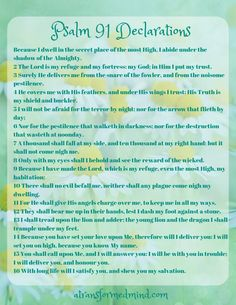 Psalm 91 is one of the best loved Scriptures in the entire Bible, reminding us of God's desire to love and protect us in the time of trouble. Calling us into the Secret Place of the Most High. Powerful Scriptures, Prayer Scriptures, Scripture Verses, Bible Verses Quotes, Prayer Quotes, Psalm 91 Kjv, Psalm 91 Prayer, Psalms, Prayers For Children