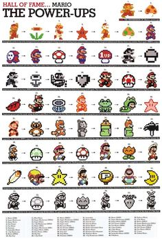 Super Mario Bros Items Cross Stitch Pattern