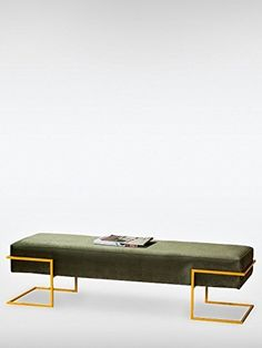 Sitzbank Flur BABIL | Modern Style | ergonomisch | (BxTxH) 147 x 43 x 40 cm | olivgrün gelb | roomeo24®
