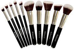 Make-Up Pinselset Kosmetik Kabuki Pinsel Set - 10 Teiliges Premium Schminkpinsel Set (Puderpinsel Foundation Pinsel Inkl.) - Ideal für Puder, Cremige oder Flüssige Foundation und andere Makeup Produkte - Super Geschenkidee - Angebotspreis nur für kurze Zeit!
