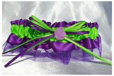 Bridal Accessories   Purple and Lime Green Rose Garter