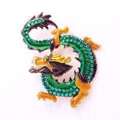 Green Dragon Brooch Emerald Green Lucky Dragon by PinkFoxFindings