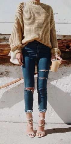 chunky knits + distressed denim
