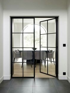 What I would give to have these style of doors btwn living & dining room Wrought Iron Doors, Inside Doors, Room Doors, Internal Doors, Windows And Doors, Glass Door, Home Interior Design, New Homes, House Styles