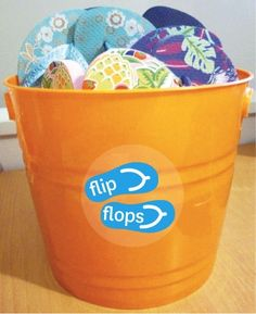 Flip Flop bucket to corral the pile at the back door.