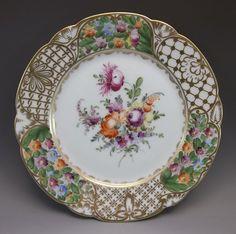 Dresden Luncheon Plate Hand Painted Roses Flowers Porcelain Purple Orange #2 #Dresden