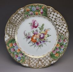 Dresden Luncheon Plate Hand Painted Roses Flowers Porcelain Purple Orange #2 #Dresden