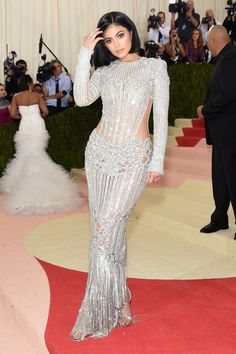Dress: bodycon dress, silver, beaded dress, embellished, sparkly dress, kylie jenner, long prom dress, long dress, gown, prom dress, wedding dress, kardashians, red carpet dress, metgala2016, balmain, met gala, shoes - Wheretoget