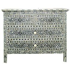 Black Floral 4 Drawer Chest - Exotic Traveller - Temple & Webster presents Painted Furniture, Modern Furniture, Furniture Ideas, Chest Of Drawers, Decorative Accessories, Bones, Black And White, House Styles, Floral