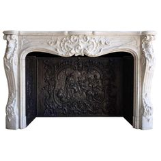 French Louis XV style white marble fireplace