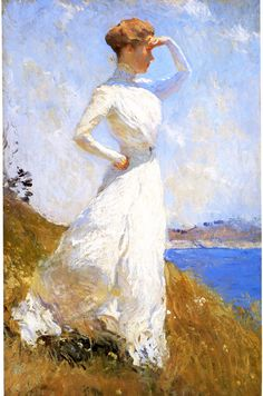 """One of the main focuses of American Impressionism was capturing the essence of light and atmosphere (this made their works more realistic).  Many impressionist artists did their work outside in order to more easily portray the subject and the light on it.  This painting is called """"Sunlight"""" and was done by Frank W. Benson."""