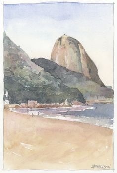 Watercolor sketch by Victor Beltran. Sketching a beach in Rio de Janeiro, pencil. - Travel tips - Travel tour - travel ideas Watercolor Images, Pen And Watercolor, Watercolor Artists, Watercolor Landscape, Watercolor Paintings, Pencil Sketches Landscape, Beach Sketches, Brazil Art, Travel Tours