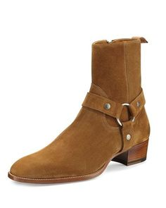 Harness buckle across front Stacked heel. Leather lining and insole. Made in Italy. Ysl Boots, Suede Boots, Saint Laurent Boots Mens, Desert Shoes, Mens Designer Boots, Gentleman, Harry Styles, Mens Boots Fashion, Versace Men