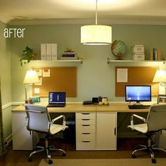 A Dining Room Is Transformed Into Home Office For Two