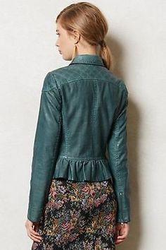 NWOT Anthropologie Fayette Vegan Leather Jacket by Cartonnier Sz 8