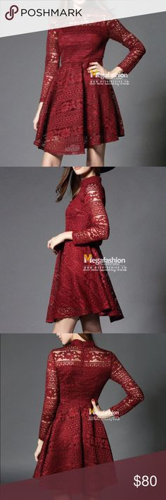 """🌹NEW lace red dress NEW lace red dress size 6, this dress will make you look outstanding in a party or everywhere you go <3the lace are so pretty and it kind of pleated too. I bought this but sadly it is too long(92cm) on me (I'm 5""""2) *NO TRADE PLEASE* Dresses Mini"""