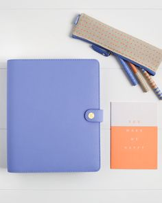 Get organised and manage your schedule in style with this beautiful Cobalt Blue kikki.K Leather Planner