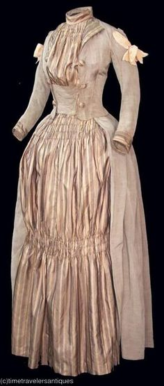 """This 1887 dress resembles the """"redingote"""" style of the 1790s."""