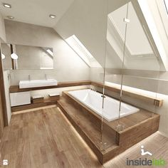 Badezimmer mit Dachschräge komplett mit Fliesen in Holzoptik. Bathroom with sloping ceiling complete with tiles in wood look. Loft Bathroom, Family Bathroom, Dream Bathrooms, Bathroom Interior, Bathroom Ceilings, Master Bathroom, Bad Inspiration, Bathroom Inspiration, Natural Bathroom