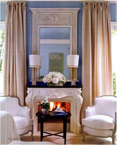 Decorative fire surround and mirror moulding. Fireplace Seating, Fireplace Mantle, Fantasy Bedroom, Fire Surround, Bedroom Seating, Kitchen Remodel, Sweet Home, Mantle Decorating, Decorating Ideas