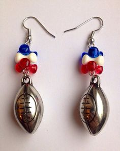 New England Patriots Football Earrings on Etsy, $9.00