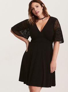4672c6cfe7 Black Lace Sleeve Jersey Knit Skater Dress