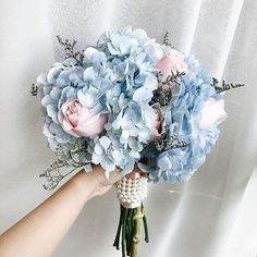 prom bouquet Hottest 7 Spring Wedding Flowers to Rock Your Big Day---pale blue hydrangea and blush pink roses wedding bouquet, spring weddings, Bouquet Bleu, Prom Bouquet, Bride Bouquets, Prom Flowers, Spring Wedding Flowers, Wedding Summer, Pretty Flowers, Wedding Flower Guide, Wedding Ideas